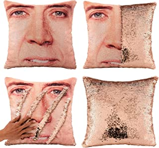 Ainik Mermaid Pillow Case Mermaid Pillow Cover Sequin Throw Pillow Case Decorative Color Change Cushion Cover Sofa Bedroom Car Kids 16 x 16 inches (1 Nicolas Cage B-Champagne)