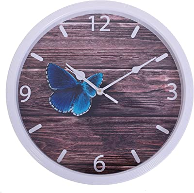 Smera Beautiful Blue Butterfly Design Attractive Analog 31.5 cm X 31.5 cm Wall Clock for Home and Office
