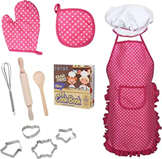 Beverly Hills Cooking and Baking Chef Role Play Dress up Set for Kids 12 Piece Pretend Playset with Cookbook (12 Recipes), Utensils and Apron