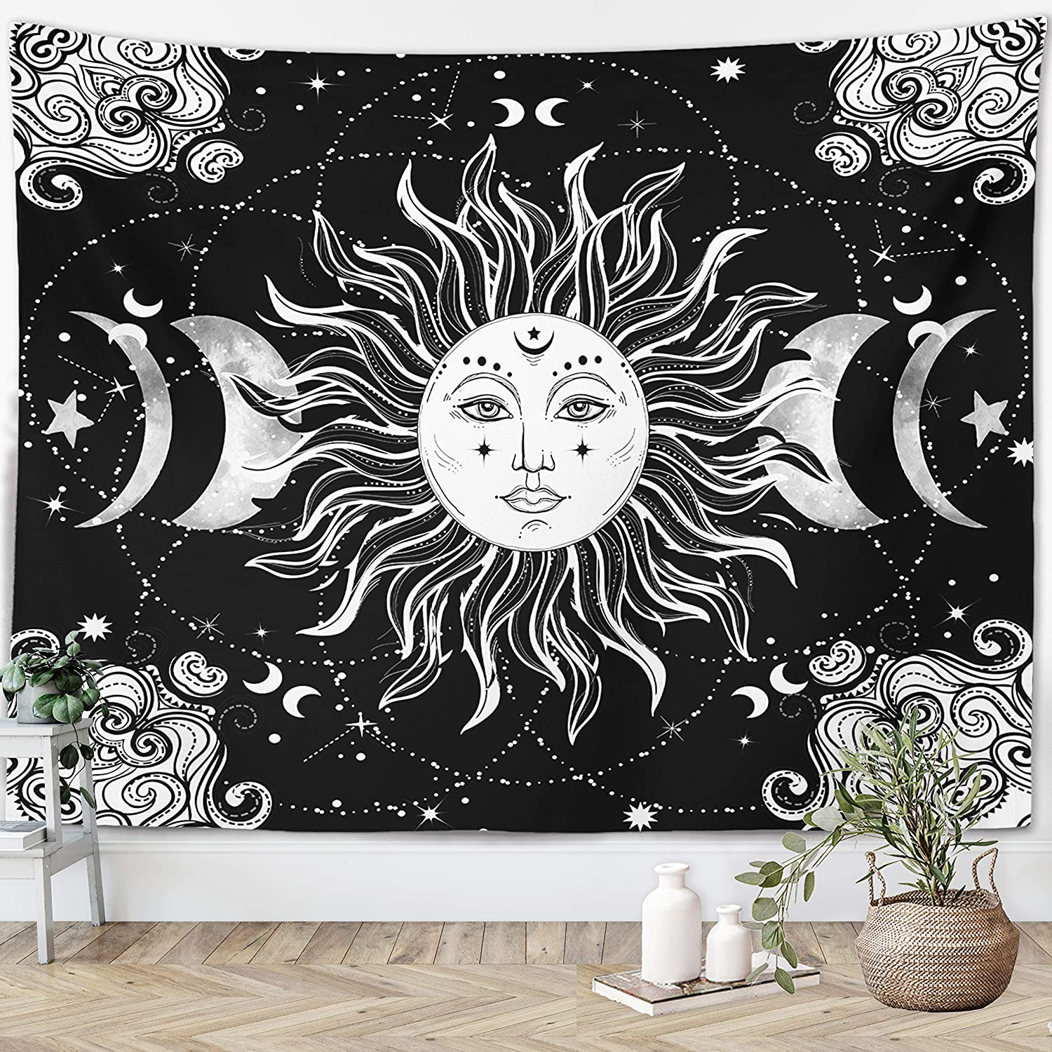 Sun Moon Tapestry Starry Night Wall Hanging Moon Landscape Constellations Lunar Phases Bohemian Eclipse Black and White Wall Decor Astrology Galaxy Boho Celestial Tapestry (Sun, 51