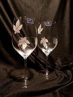 Copas Bohemia Vino Talladas a Mano con Estuche de lujo.(mod. Gourmet talla Uvas)