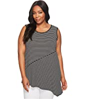 Vince Camuto Specialty Size - Plus Size Sleeveless Asymmetrical Hem Simple Stripe Top