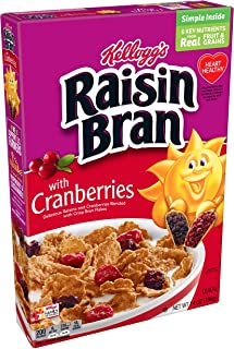 Kellogg's Raisin Bran, Breakfast Cereal, Original with Cranberries, Good Source of Fiber, 14oz Box