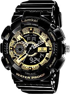 Lamkei Army Black Golden Analouge Digital Black Silicon Strap Sport Watch for Men- XH-1036