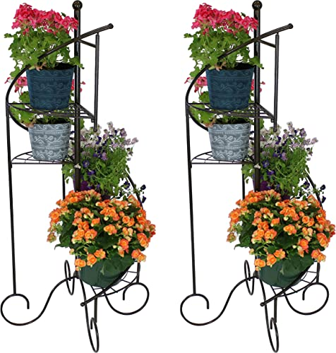 lowest Sunnydaze 4-Tier Metal Iron Plant Stand, lowest Spiral Staircase Design, Set discount of 2, 56-Inch outlet online sale