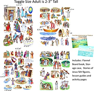 Toggle Size Story & Life of Jesus Christ and Flannel Board Book Precut New Testament Bible Felt Set 13 storiesSet