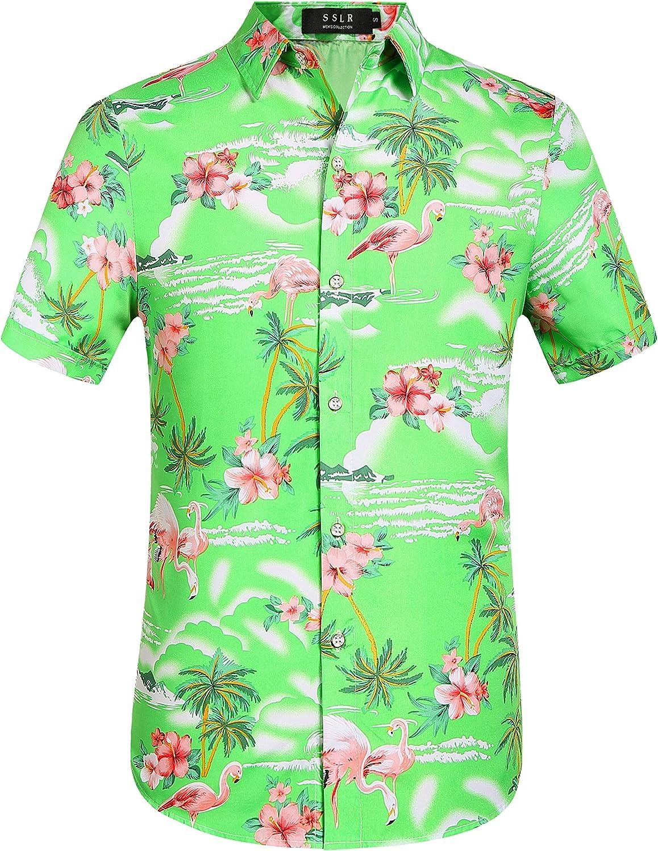 SSLR Mens Hawaiian Shirt Flamingos Casual Short Sleeve Aloha Shirt