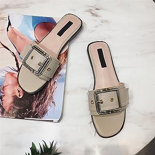 Donyyyy par de zapatillas en el verano del fondo plano sandalias de hebilla de correa