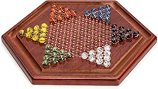 Yellow Mountain Imports Wooden Chinese Checkers Game Set, 11.75 Inches - with 60 Colored Marbles, 16mm
