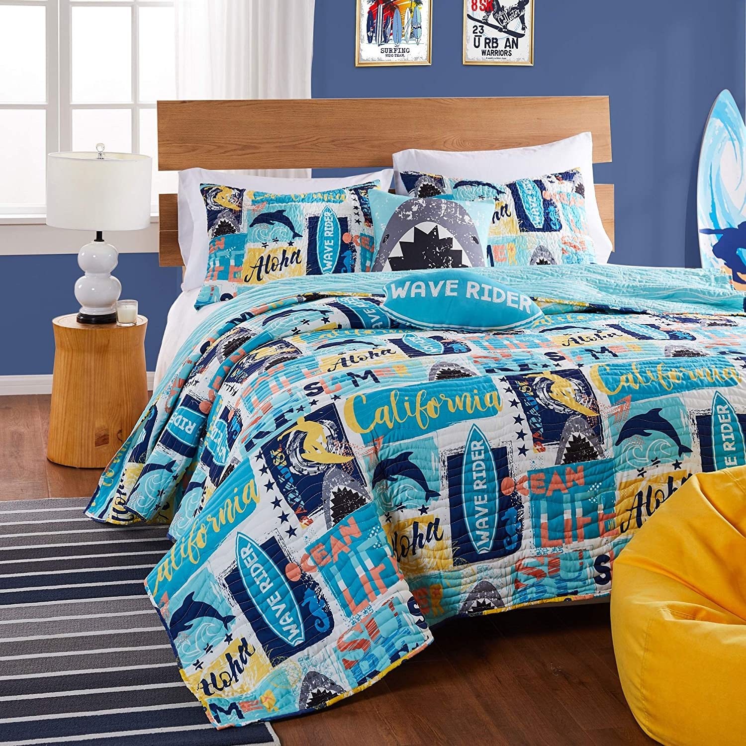 Greenland Finally resale start Home security Fashions Wave Rider Quilt Bl Pillow Sham and Set