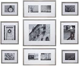 Gallery Perfect 17FW2317 Photo Kit with Decorative Art Prints & Hanging Template Gallery Wall Frame Set, 9 Piece, Grey