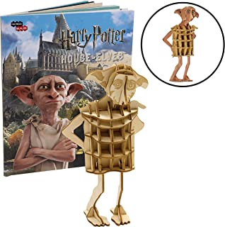 Harry Potter Dobby Book and 3D Wood Model Figure Kit - Build, Paint and Collect Your Own Wooden Character Toy Model - for Kids and Adults, 8+ - 3