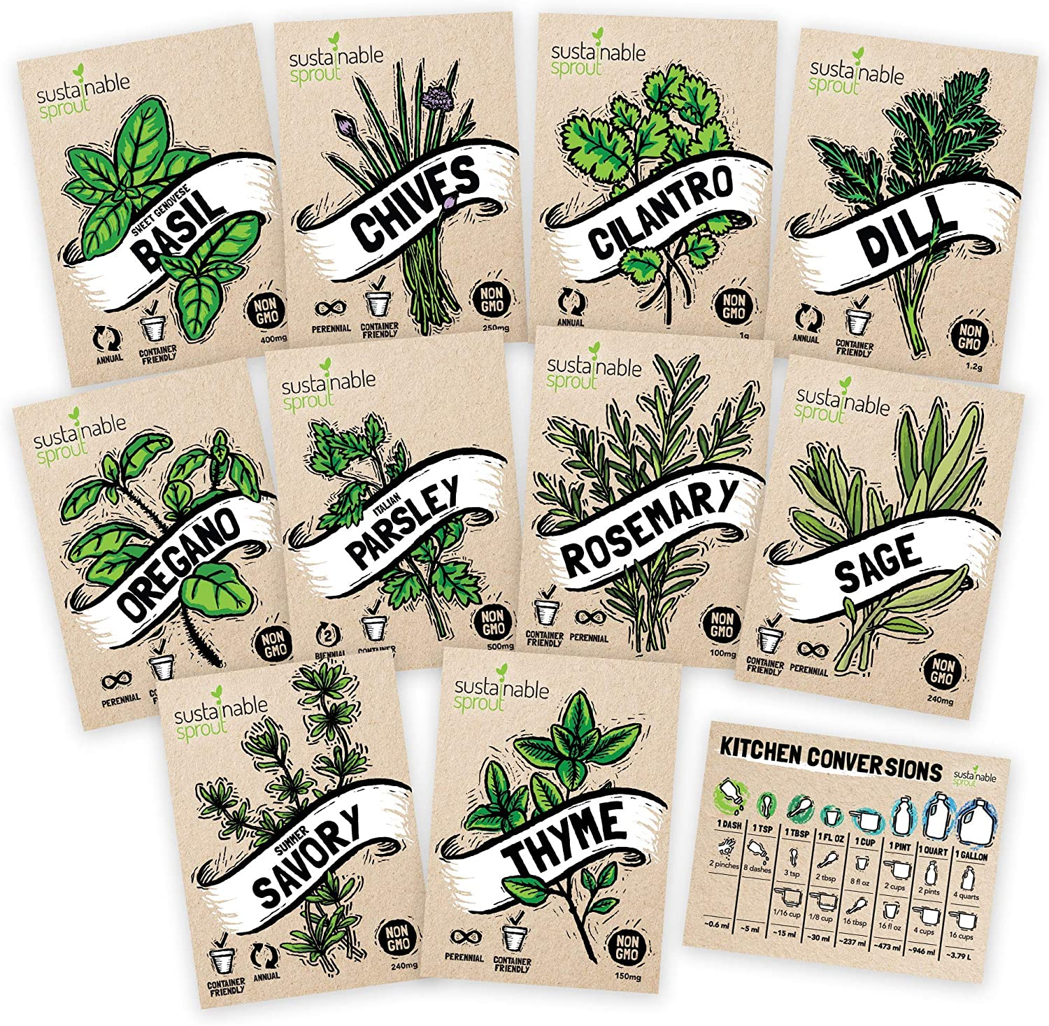 Culinary Herb Seeds 10 Pack – Over 4000 Seeds! 100% Non GMO Heirloom - Basil, Cilantro, Parsley, Chives, Thyme, Oregano, Dill, Rosemary, Sage Rosemary for Planting for Outdoor or Indoor Herb Garden