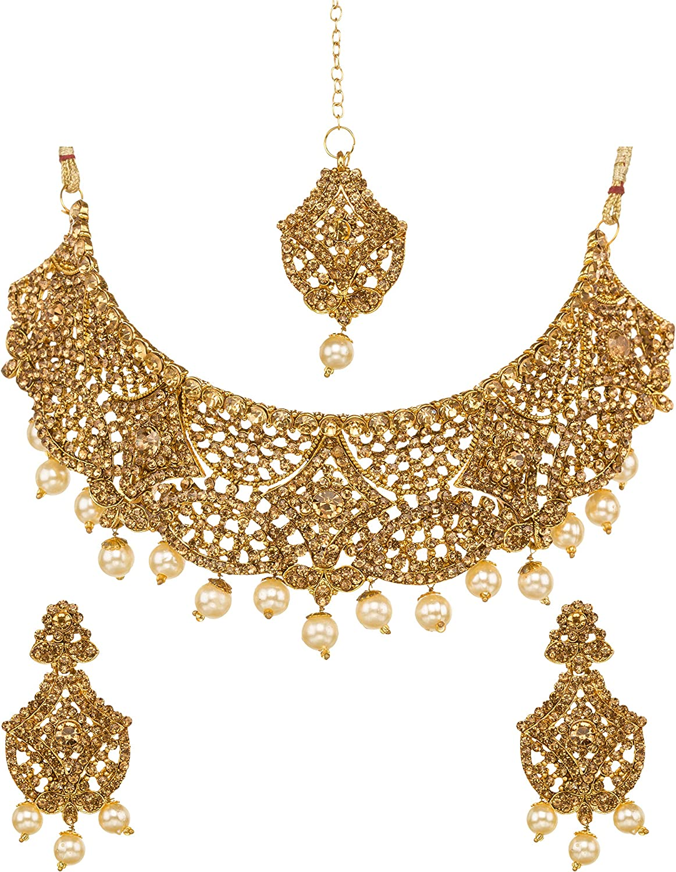 Bindhani Indian Style Wedding Jewelry Bollywood Bridal Bridemaids Gold Plated Kundan Choker Necklace Earrings Tikka Jewellery Set for Women (Golden)