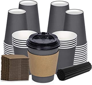 Savourio Coffee Cups with Lids – 12 Oz Disposable Coffee Cups 100 Pack Paper Cups with Stirring Straws, Lids, Sleeves, Hot Coffee Container – Tall Tea Cup to Go