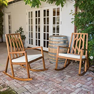 Monterey Outdoor Wood Rocking Chair with White Cushion (set of 2)