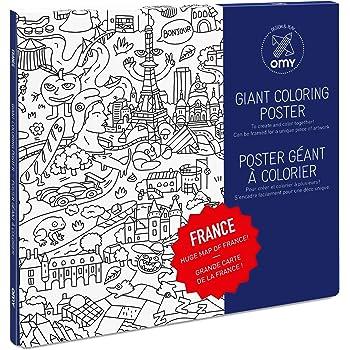 Omy Poster Geant A Colorier De La France Format Encadrable 70 X 100 Cm Amazon Fr Cuisine Maison
