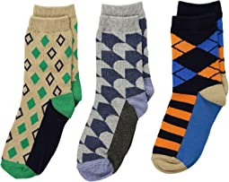 Funky Diamond Dress Socks 3-Pack (Toddler/Little Kid/Big Kid)