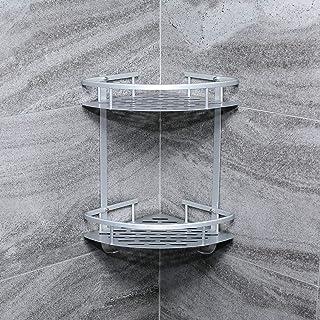 Evaduol Estanteria Ducha sin Taladros Estante Ducha de Esquina Aluminio Espacial y Matte Finish Estantería Baño de Esquin...