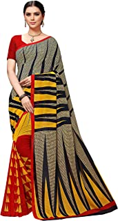 Vaamsi Women's Poly Georgette Printed Saree(PC1113_One Size_Multicolor)