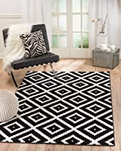 Summit 046 Black White Diamond Area Rug Modern Abstract Many Sizes Available , 4'.10