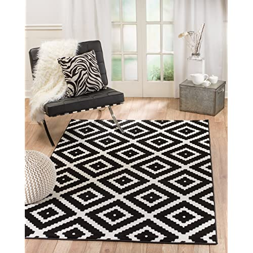 Black And White Geometric Rug Amazon Com
