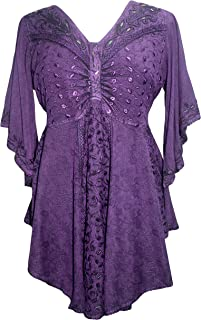 Women's V Neck Embroidered Medieval Butterfly Beaded Bell Short Sleeve Top Blouse Tunic