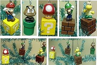 Nintendo Super Mario Brothers 5 Piece Game Scene Christmas Tree Holiday Mini Ornament Set Featuring 2.5