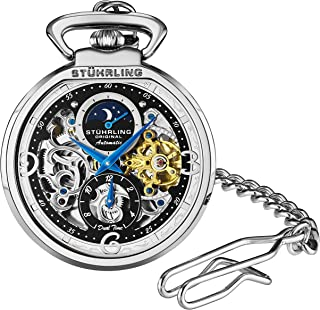 Stuhrling Orignal Mens Pocket Watch Automatic Watch Skeleton Watches for Men -Gold Pocket Watch - Mechanical Watch with Belt Clip and Stainless Steel Chain -Dual Time AM/PM Subdial