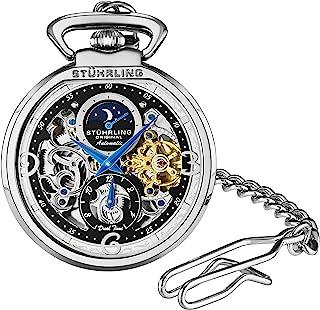 ساعة ستاهرلنغ اورجنال للرجال اوتوماتيكية ساعة جيب بفتحة ذهبية - ساعة ميكانيكية مع مشبك حزام وسلسلة ستانلس ستيل - بالتوقيت ...