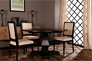 Classic Rustic Style Round Dining Room Kitchen Table with Distressed Details (Black)
