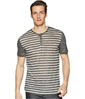 John Varvatos Collection - Short Sleeve Stripe Henley K2266U1