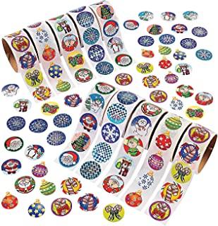 CHRISTMAS HOLIDAY SCRAPBOOKING STICKER PARTY FAVOR ASSORTMENT - 10 ROLLS = 1000 STICKERS