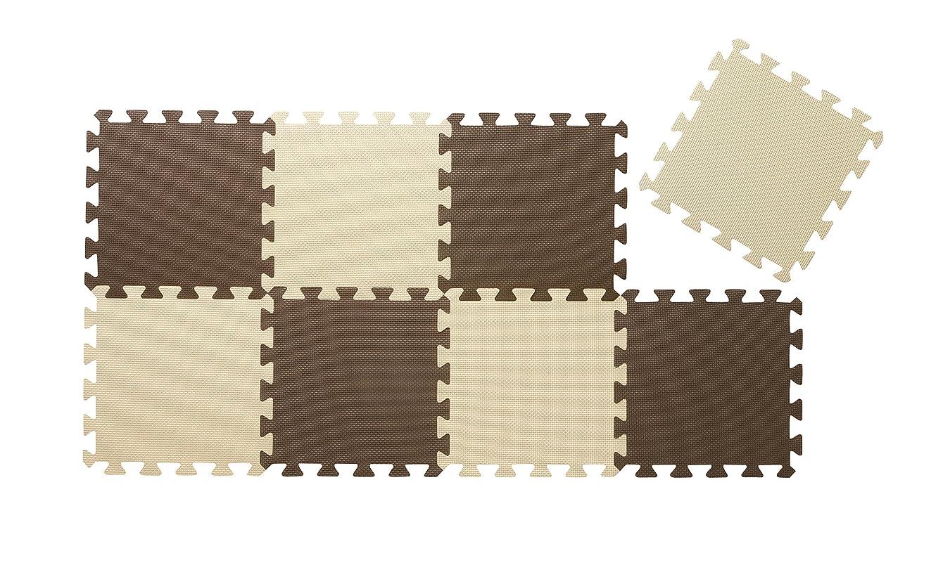 牛肉周り統計的CBジャパン ジョイントマット 30×30cm 8枚組 ポルト ブラウン×ベージュ (チョコレート)
