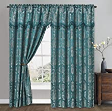GOHD Golden Ocean Home Decor Simple Classic. Jacquard Window Curtain Panel Drape with Attached Wave Valance. 2pcs Set. Eac...
