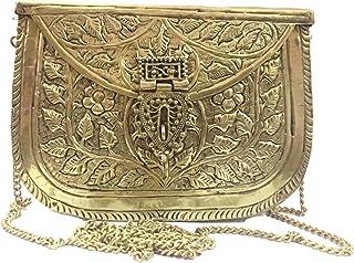 Trend Overseas Women's Brass Metal Sling Bag/Clutch (Antique Silver)