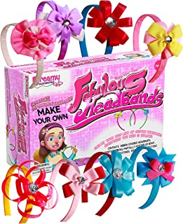 DIY Headbands for Girls Craft Kit [12 Bands] – Hair Accessories Arts & Crafts for Girls Age 5 to 12 – Hair Band Jewelry Making Toy for Learning & Fun