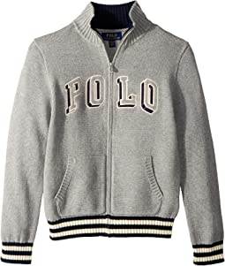 Cotton Full Zip Sweater (Big Kids)