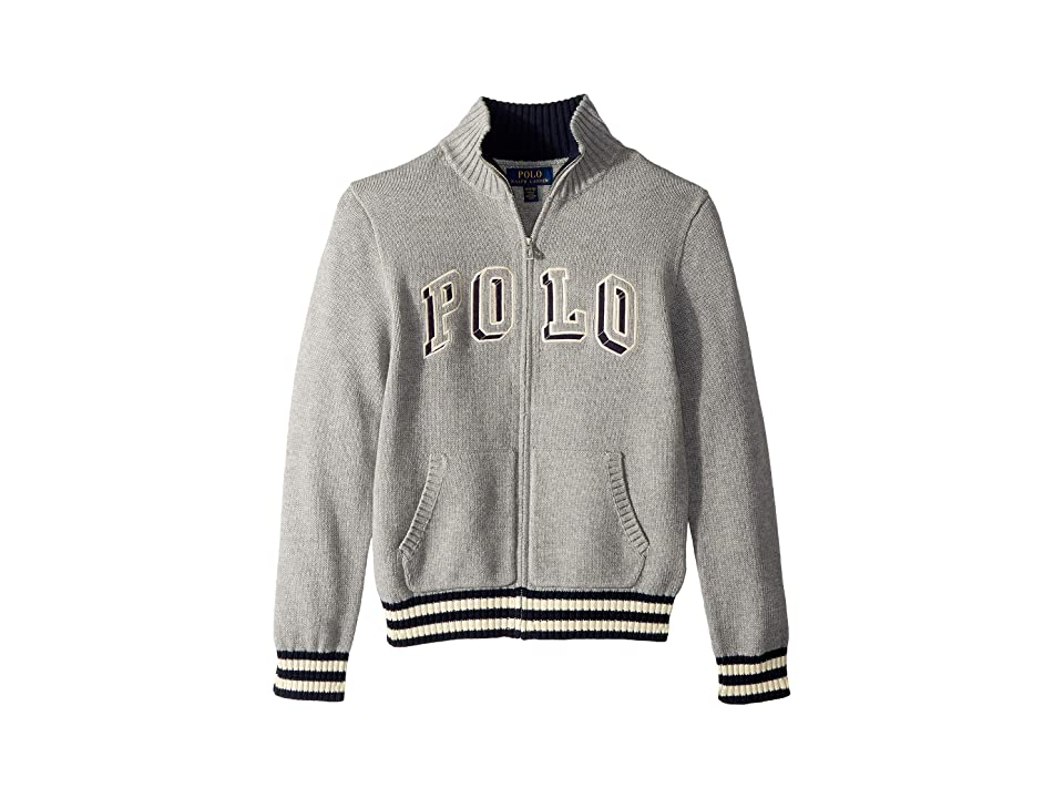 Polo Ralph Lauren Kids Cotton Full Zip Sweater (Big Kids) (Andover Heather) Boy