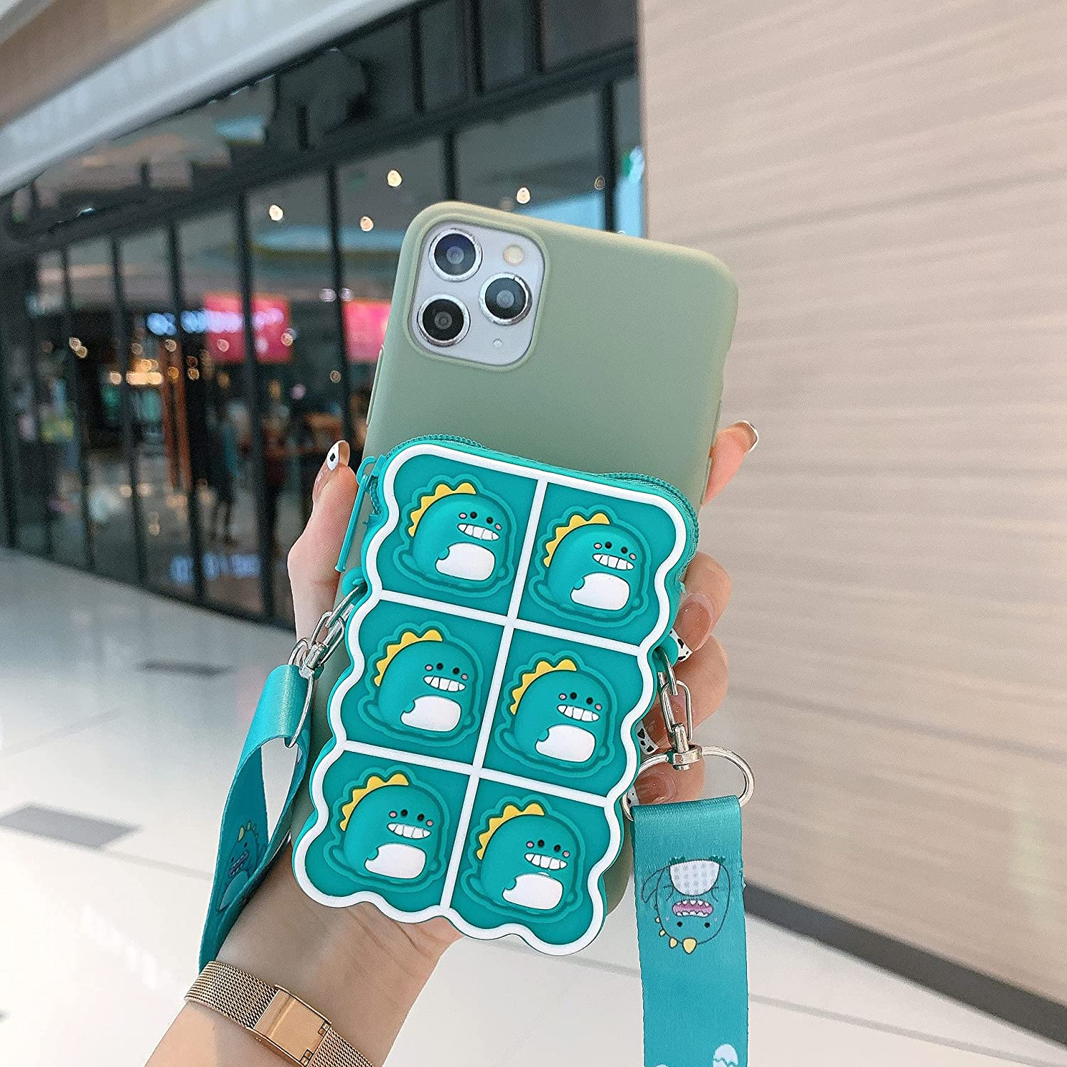 ISYSUII Kickstand Case for Samsung Galaxy S20 Cute Cartoon Animal Character TPU Soft Silicone Protective Case with Card Holder Crossbody Strap Lanyard for Kids Girls Women,Green Dinosaur