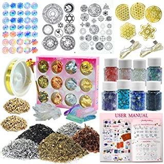 Funshowcase Epoxy Art Pyramid Making Supplies Pack of 36 Kits Energy Generator Symbol, Mineral Stone, Metal, Wires, Filler, LED and More