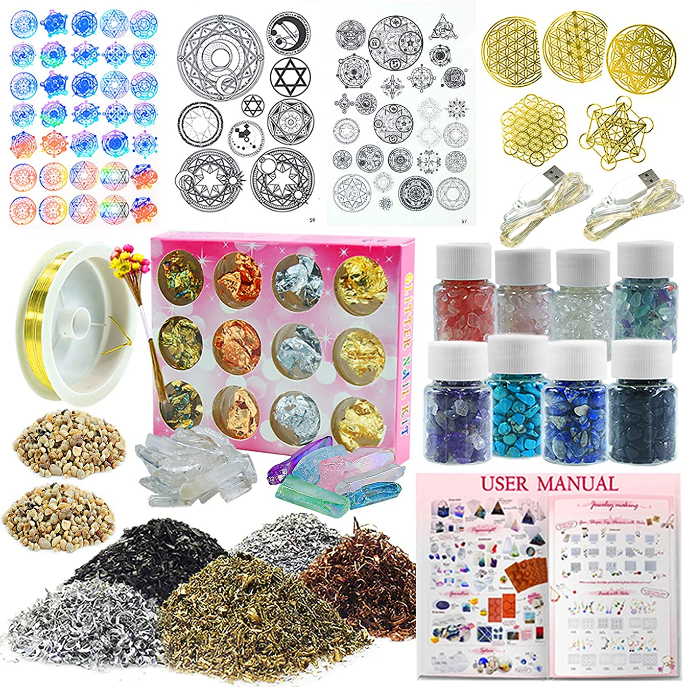 Funshowcase Resin Art Pyramid Making Supplies Pack of 36 Kits Energy Generator Symbol, Mineral Stone, Metal, Wires, Filler, LED and More