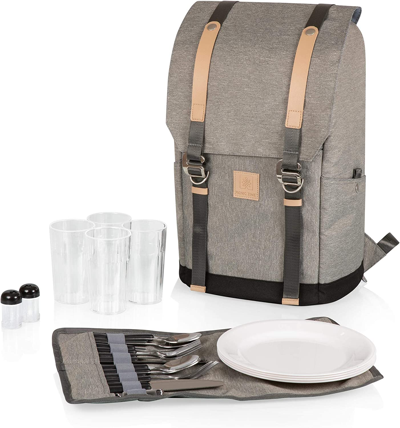 PICNIC TIME PT-Frontier Picnic Backpack, Heathered Gray : Patio, Lawn & Garden