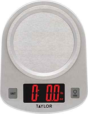 Taylor Precision Products Digital Kitchen Scale, 11 Pound Capacity, Steel