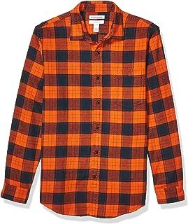Men's Slim-Fit Long-Sleeve Plaid Flannel Shirt