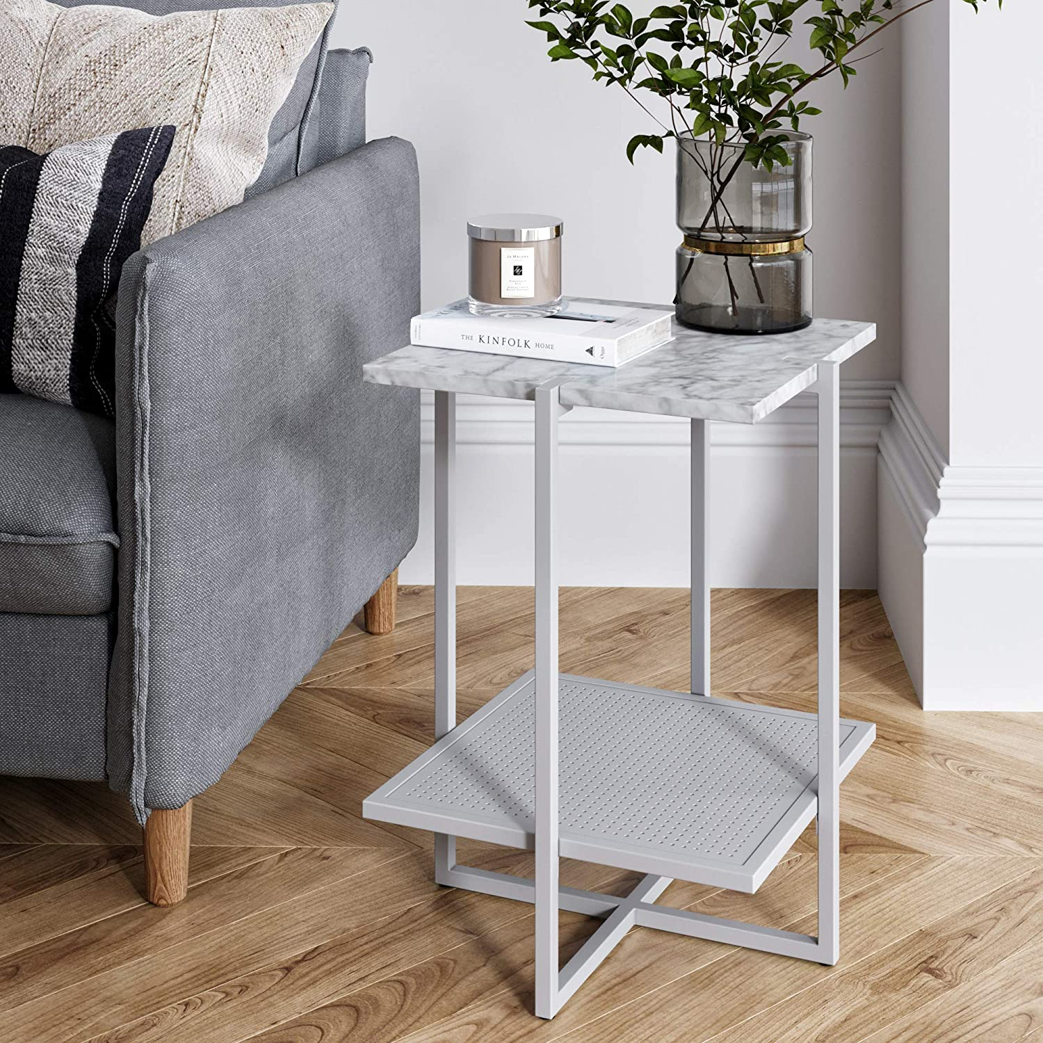 Nathan James 32602 Myles Nightstand Marble Accent Table, White