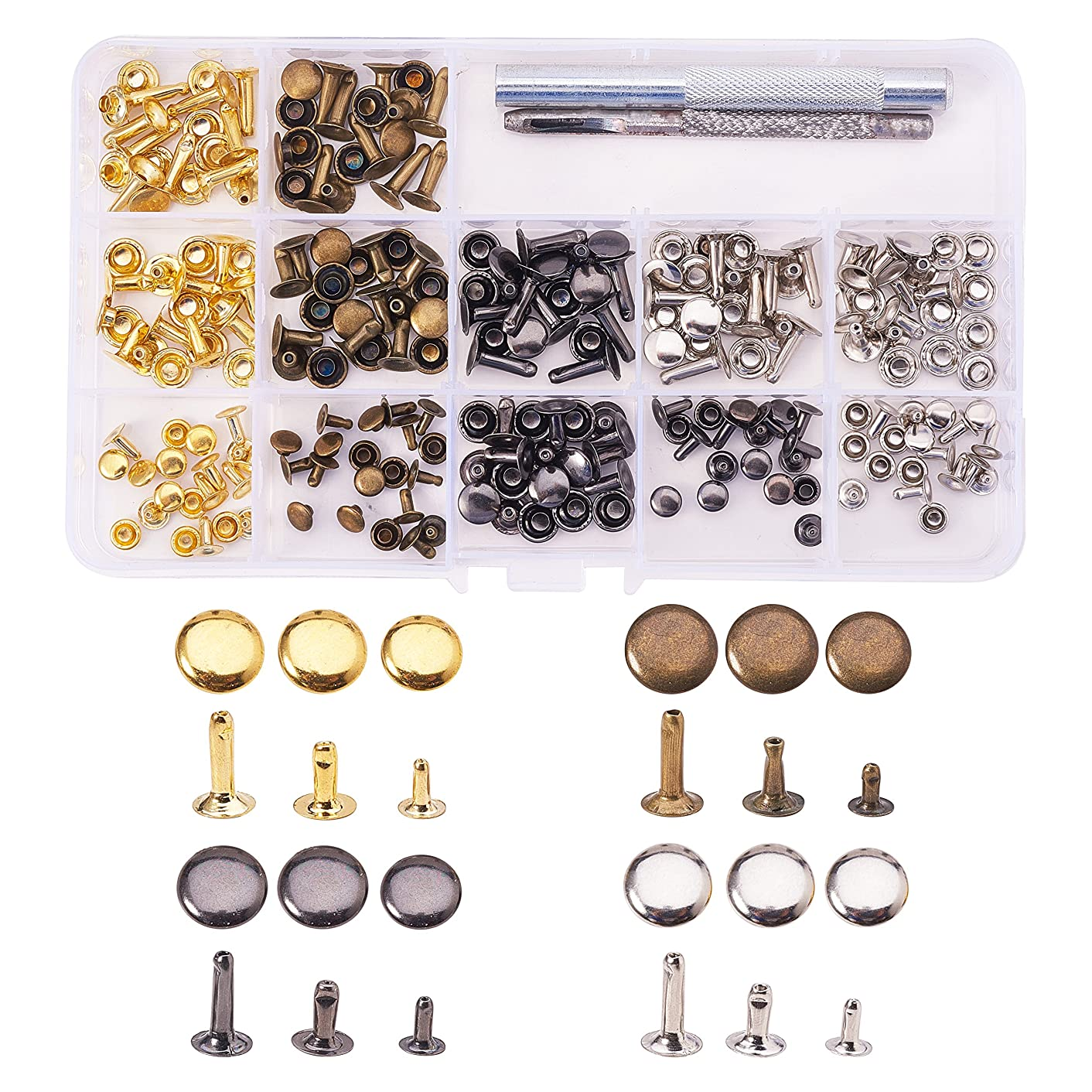 PandaHall Elite 120 Set Flat Round Rivets Single Cap Rivet Tubular Iron Studs Snap Buttons 3 Sizes with Fixing Tool Kit for Leather Craft Repairs Decoration Mixed Color