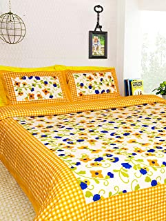 MagicBlizz Cotton 200 TC Bedsheet (Yellow_Double)