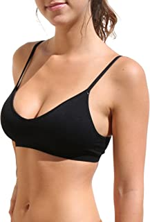 Blue 55 Women`s Bralette Wireless Padded Bra Top Sexy Everyday Basic Deep V-Neck