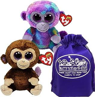 Ty Beanie Boos Zuri (Multi-Color Monkey) & Coconut (Brown Monkey) Gift Set Bundle with Bonus Matty's Toy Stop Storage Bag - 2 Pack